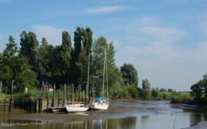 Der Hafen in Neuhaus an der Oste bei Niedrigwasser